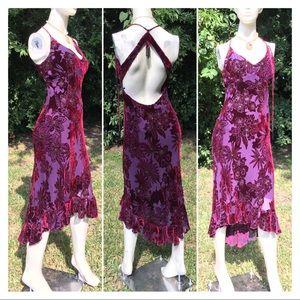 Sequined Beaded Velvet Burnout Ball Gown Dress